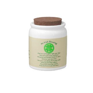 Lucky Celtic Shamrock 4 Leaf Clover Irish Blessing Candy Jar