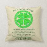Lucky Celtic Shamrock 4 Leaf Clover Irish Blessing Throw Pillows
