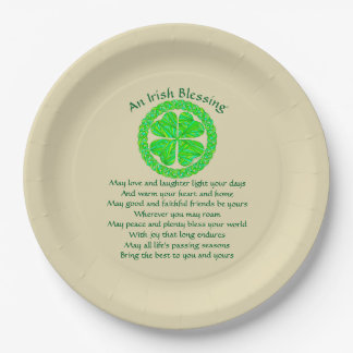 Lucky Celtic Shamrock 4 Leaf Clover Irish Blessing 9 Inch Paper Plate