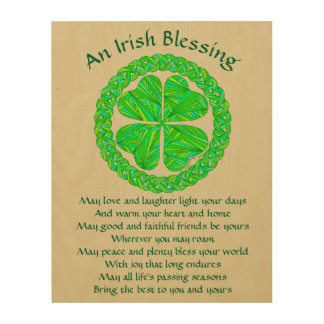 Lucky Celtic Shamrock 4 Leaf Clover Irish Blessing Wood Wall Decor