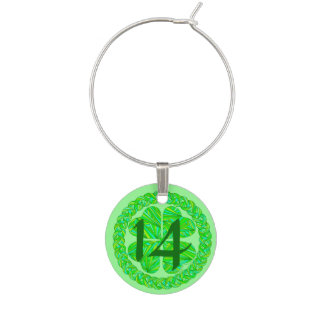 Lucky Celtic Shamrock 4 Leaf Clover Numbered Charm Wine Glass Charm