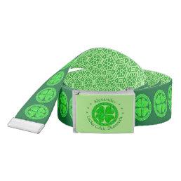 Lucky Celtic Shamrock Four Leaf Clover Green Irish Belt