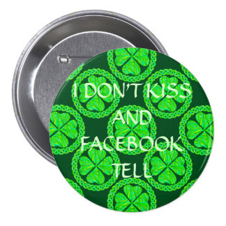 Lucky Celtic Shamrock Four Leaf Clover Green Irish 3 Inch Round Button