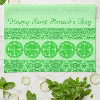 Lucky Celtic Shamrock Four Leaf Clover Green Irish Kitchen Towels