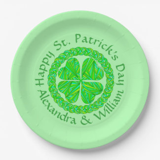 Lucky Celtic Shamrock Four Leaf Clover Green Irish 9 Inch Paper Plate