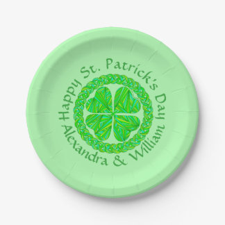 Lucky Celtic Shamrock Four Leaf Clover Green Irish 7 Inch Paper Plate