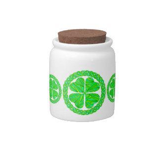 Lucky Celtic Shamrock Irish Art Snacks Treats Jar Candy Jars