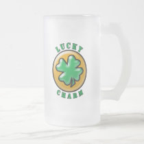 Lucky Charm 4 Leaf Clover St. Paddys Frosted Glass Beer Mug