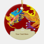 Lucky Charm Chinese Dragon Double-Sided Ceramic Round Christmas Ornament