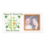 Lucky charm clover shamrock swirls photo card