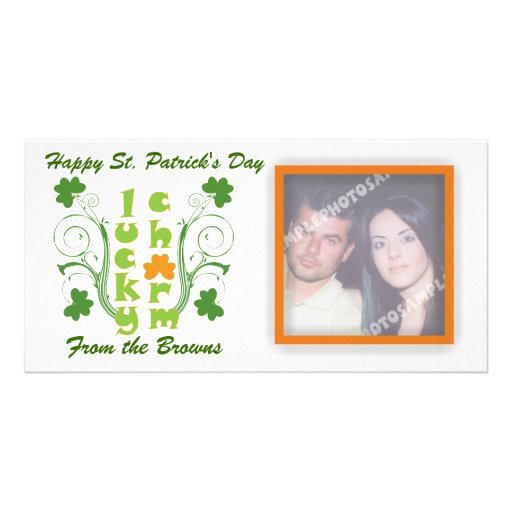 Lucky charm clover shamrock swirls personalized photo card