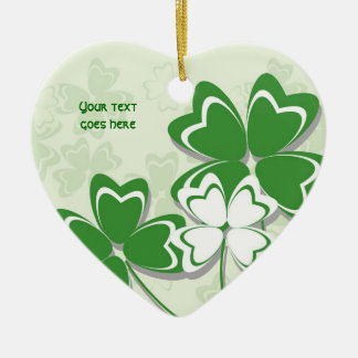 Lucky charm Irish clover shamrock St. Patricks Day Double-Sided Heart Ceramic Christmas Ornament