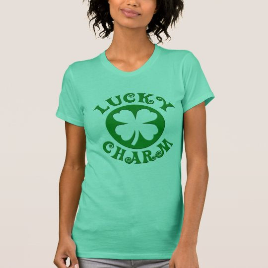 Lucky Charm Irish Four Leaf Clover T-Shirt, Ladies T-Shirt