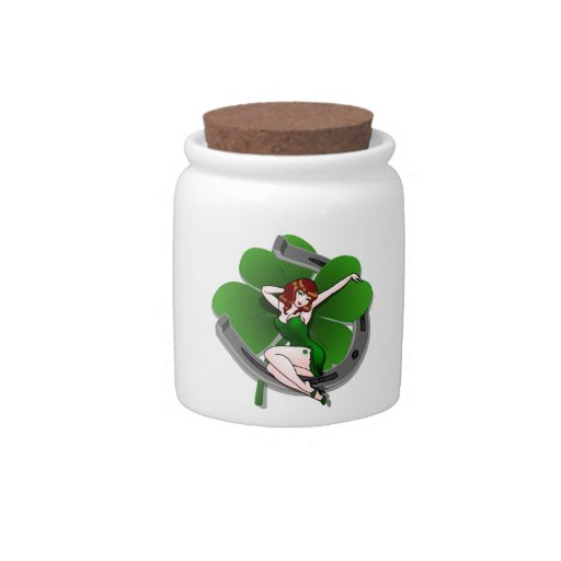 Lucky Charm Jar Lady Luck Pin-Up Girl Candy Jars