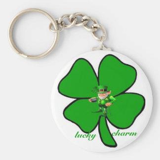 Lucky charm Leprecon clover keychain