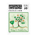 Lucky charm on tree Happy St. Patrick' stamp