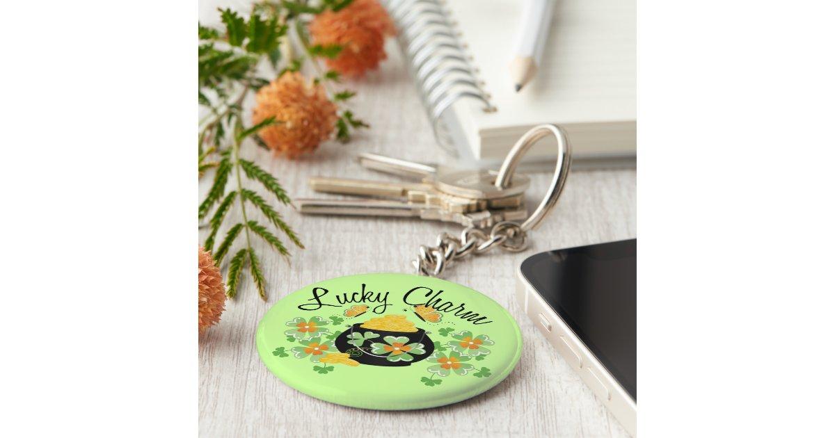 lucky charm pot of gold keychain zazzle