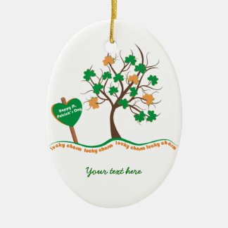 Lucky charm tree clover shamrock St. Patricks Day Double-Sided Oval Ceramic Christmas Ornament