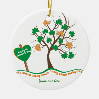 Lucky charm tree clover shamrock St. Patricks Day Double-Sided Ceramic Round Christmas Ornament