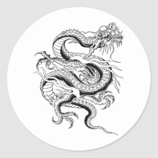 Lucky Chinese Dragon Classic Round Sticker