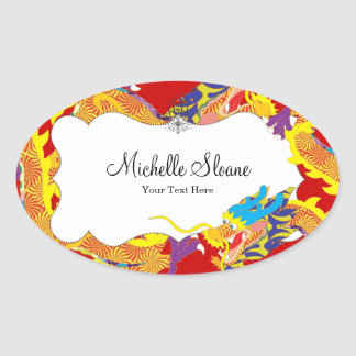 Lucky Chinese Dragon Oval Sticker