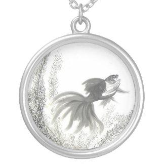 Lucky Chinese Goldfish Brush Art Necklace