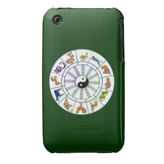 Lucky Chinese Zodiac Wheel, Chinese Astrology iPhone 3 Case-Mate Case