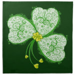 Irish Shamrock Lucky clover filigree cloth napkins