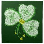 Irish Shamrock Lucky clover filigree cloth napkins