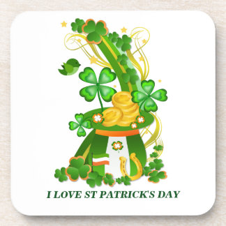 Lucky clover hat beverage coaster