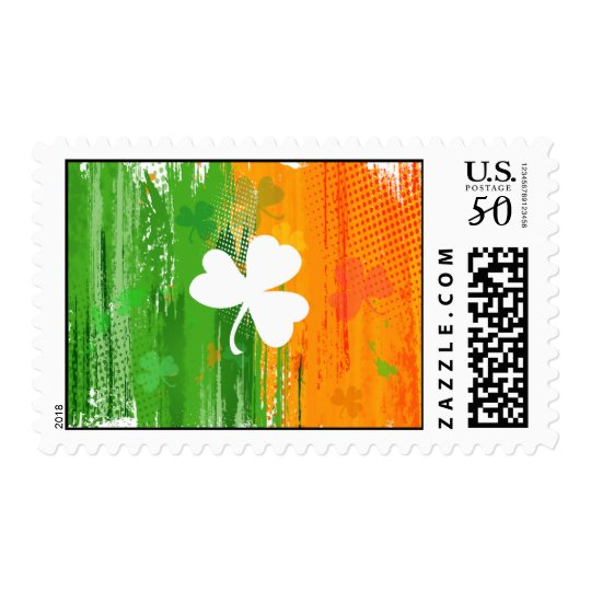 Lucky Clover & Ink Background Postage