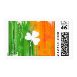Lucky Clover & Ink Background Postage Stamps