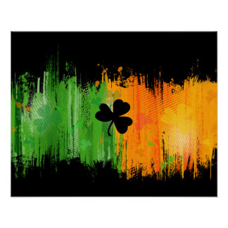 Lucky Clover & Ink Background Poster