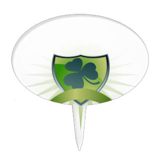 Lucky Clover Shield and Banner Cake Topper