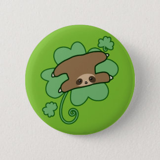 Lucky Clover Sloth Button