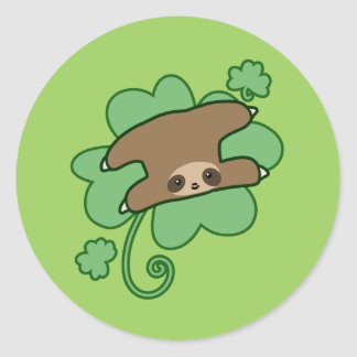 Lucky Clover Sloth Classic Round Sticker