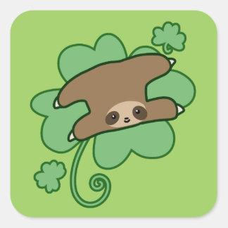 Lucky Clover Sloth Square Sticker
