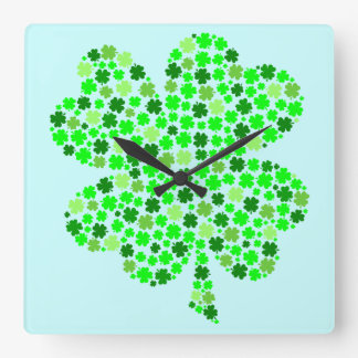 Lucky Clover Square Wall Clocks