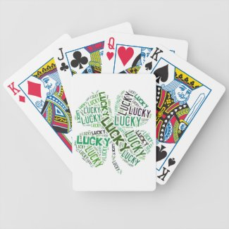 Lucky Clover Word Art Bicycle Playing Cards