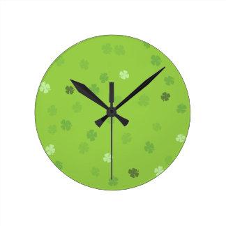 Lucky Clovers Green Round Wall Clocks