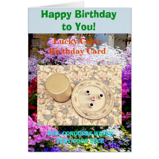 Lucky color Happy Birthday. Soil conquers Water Card