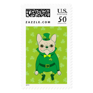 Lucky Cute Frenchie on St. Patrick's Day Postage