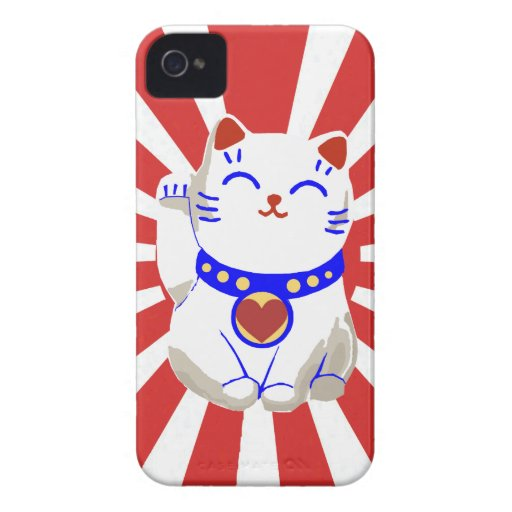 Lucky cute neko cat on rising sun Case-Mate iPhone 4 case