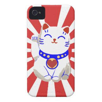 Lucky cute neko cat on rising sun Case-Mate iPhone 4 cases