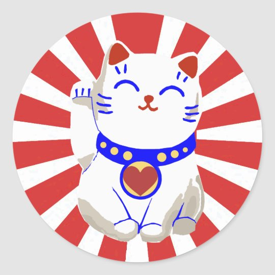 Lucky cute neko cat on rising sun classic round sticker