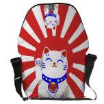 Lucky cute neko cat on rising sun courier bags