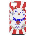 Lucky cute neko cat on rising sun iPhone 5 case