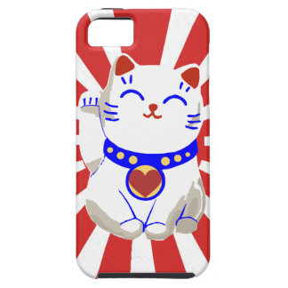 Lucky cute neko cat on rising sun iPhone SE/5/5s case