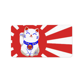 Lucky cute neko cat on rising sun custom address label