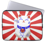 Lucky cute neko cat on rising sun laptop computer sleeves